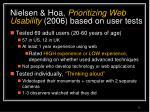 nielsen hoa prioritizing web usability 2006 based on user tests