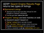 serp search engine results page returns two types of listings
