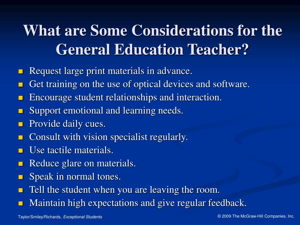 What are Some Considerations for the General Education Teacher?