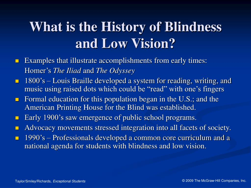 What is the History of Blindness