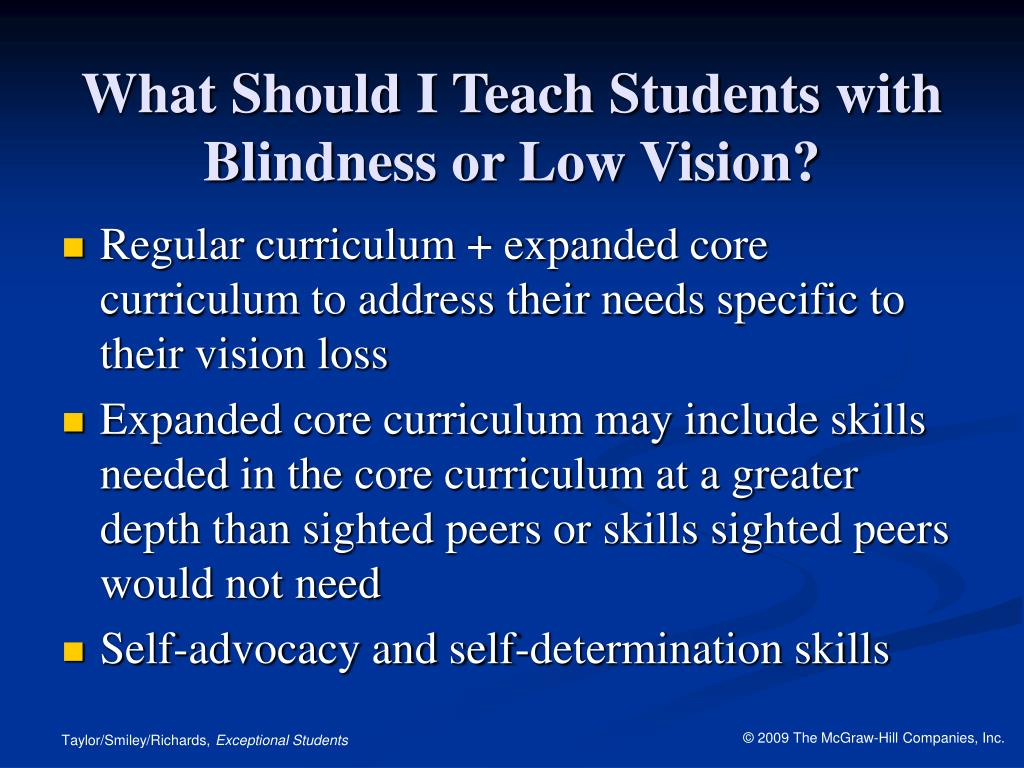 What Should I Teach Students with Blindness or Low Vision?