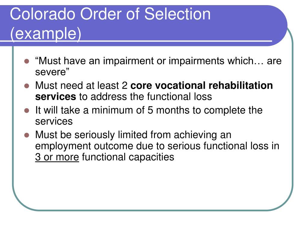 Colorado Order of Selection (example)