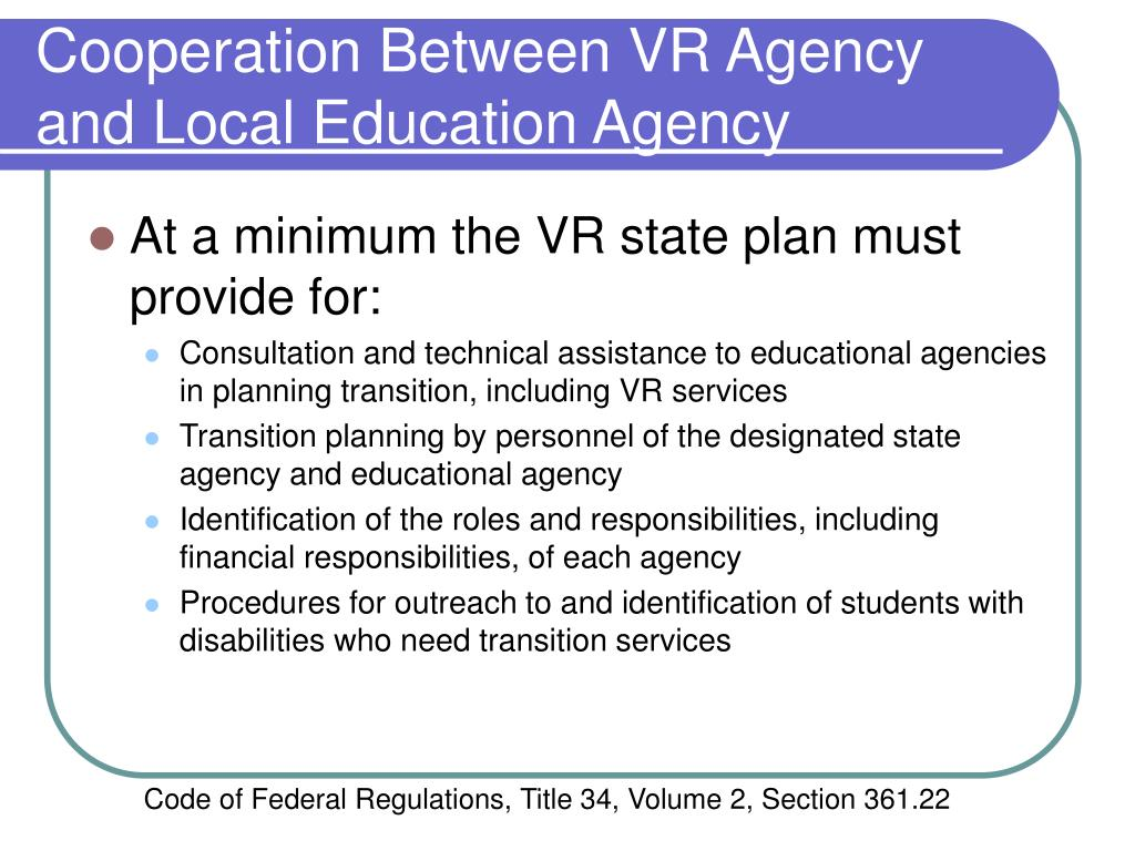 Cooperation Between VR Agency and Local Education Agency