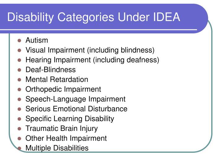 Disability categories under idea