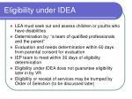 eligibility under idea
