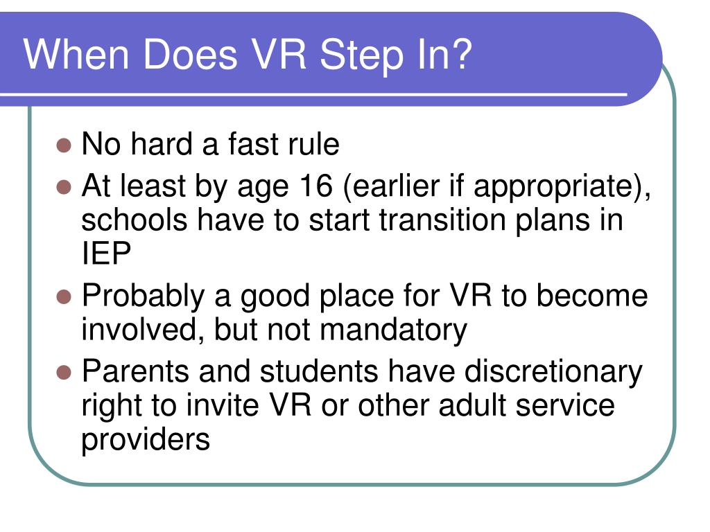 When Does VR Step In?