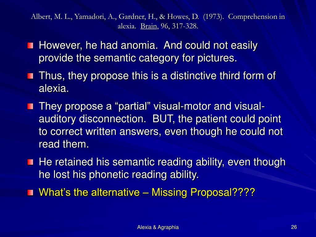 Albert, M. L., Yamadori, A., Gardner, H., & Howes, D.  (1973).  Comprehension in alexia.