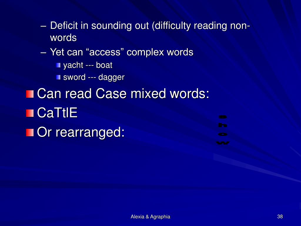 Deficit in sounding out (difficulty reading non-words