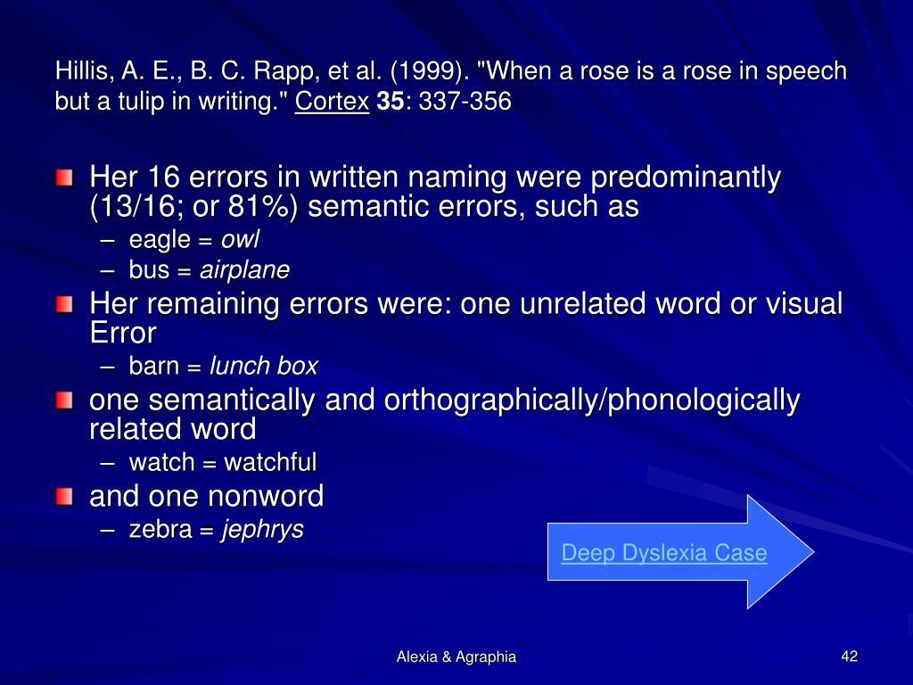 "Hillis, A. E., B. C. Rapp, et al. (1999). ""When a rose is a rose in speech but a tulip in writing."""