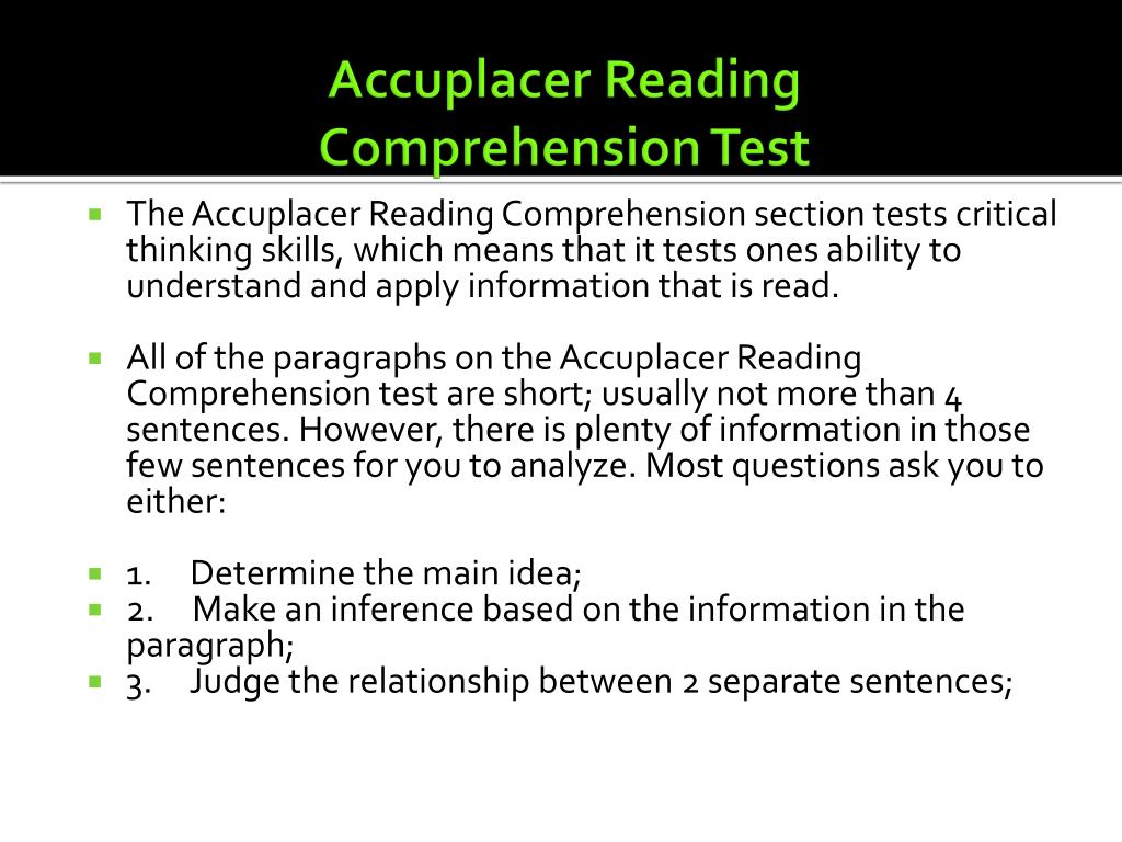 - PPT - Accuplacer Reading Comprehension Test PowerPoint