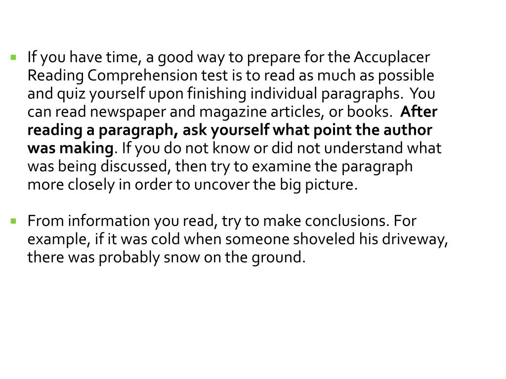 PPT - Accuplacer Reading Comprehension Test PowerPoint Presentation