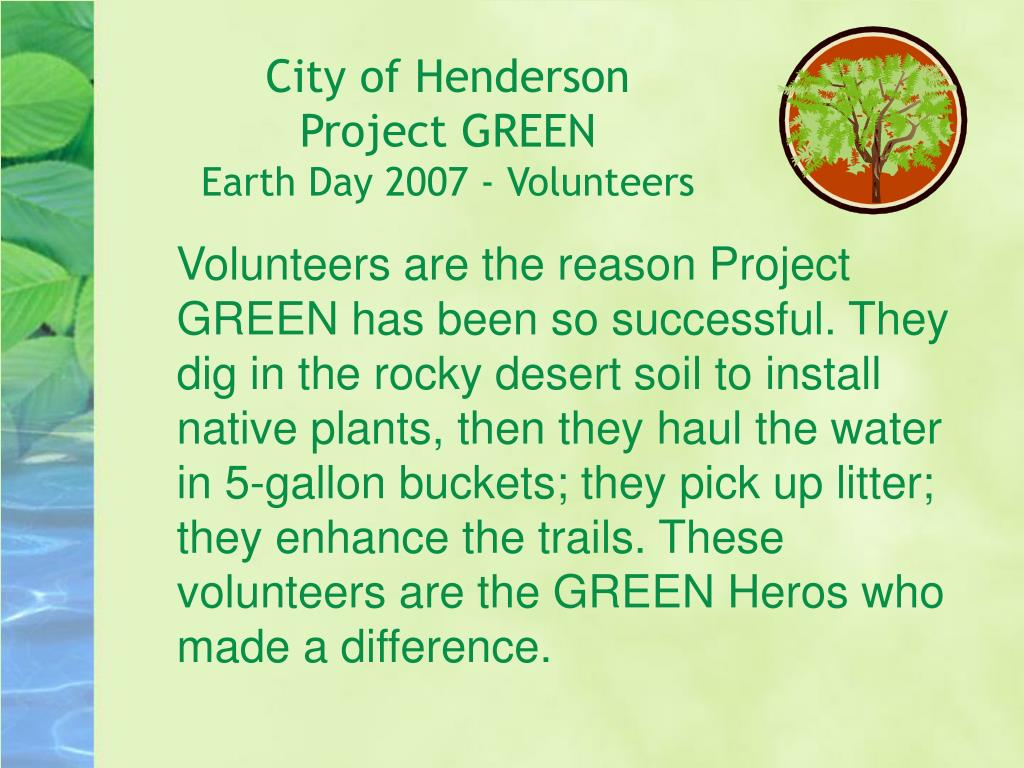 city of henderson project green earth day 2007 volunteers