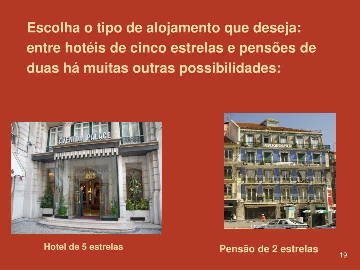 Escolha o tipo de alojamento que deseja: entre hotéis de cinco estrelas e pensões de duas há muitas outras possibilidades: