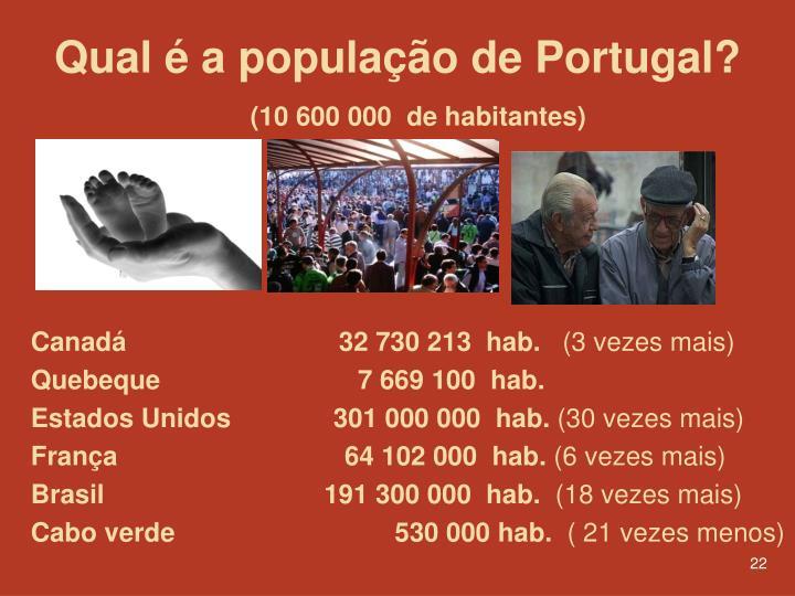 Qual é a população de Portugal?