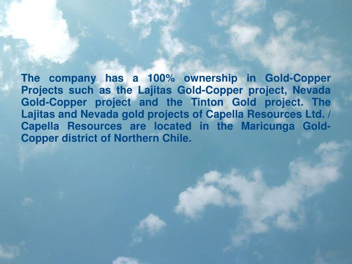 The company has a 100% ownership in Gold-Copper Projects such as the Lajitas Gold-Copper project, Ne...
