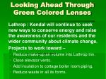 looking ahead through green colored lenses