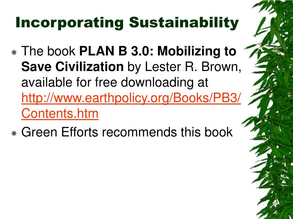 Incorporating Sustainability