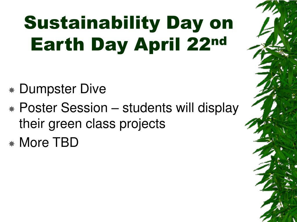 Sustainability Day on Earth Day April 22