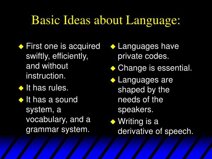 Basic ideas about language