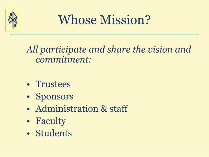 Whose Mission?