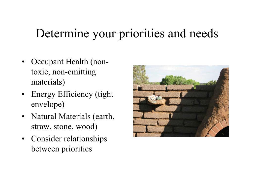 Determine your priorities and needs