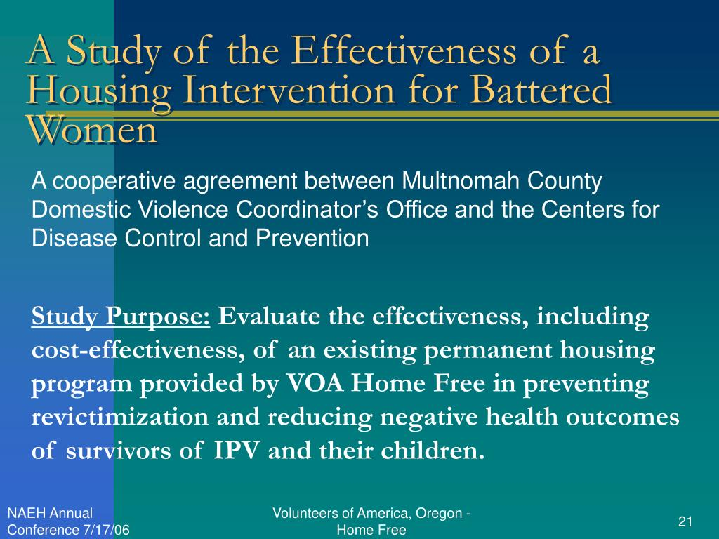 A Study of the Effectiveness of a Housing Intervention for Battered Women