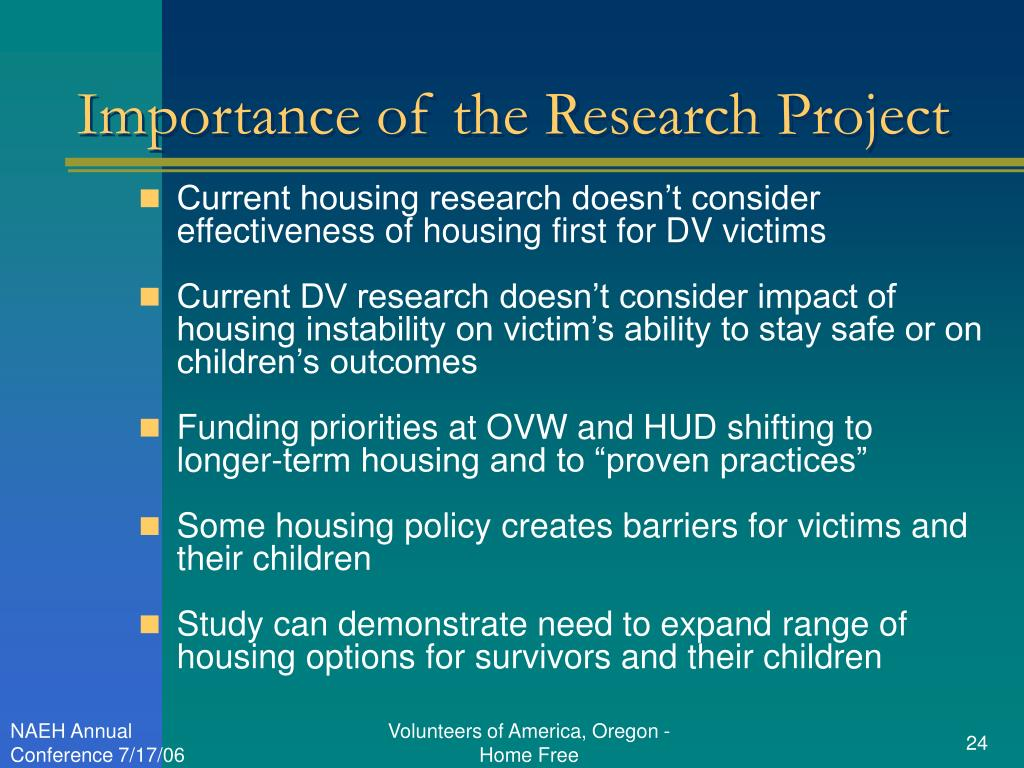 Importance of the Research Project