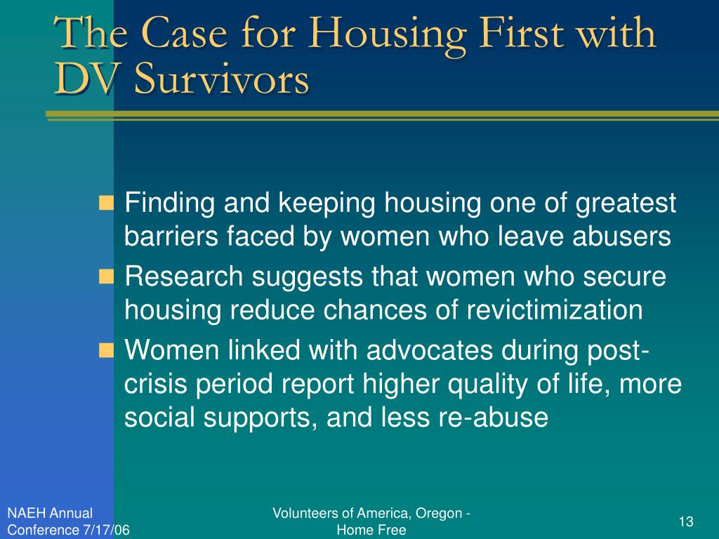 The Case for Housing First with DV Survivors