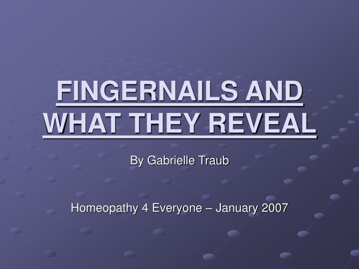fingernails and what they reveal n.