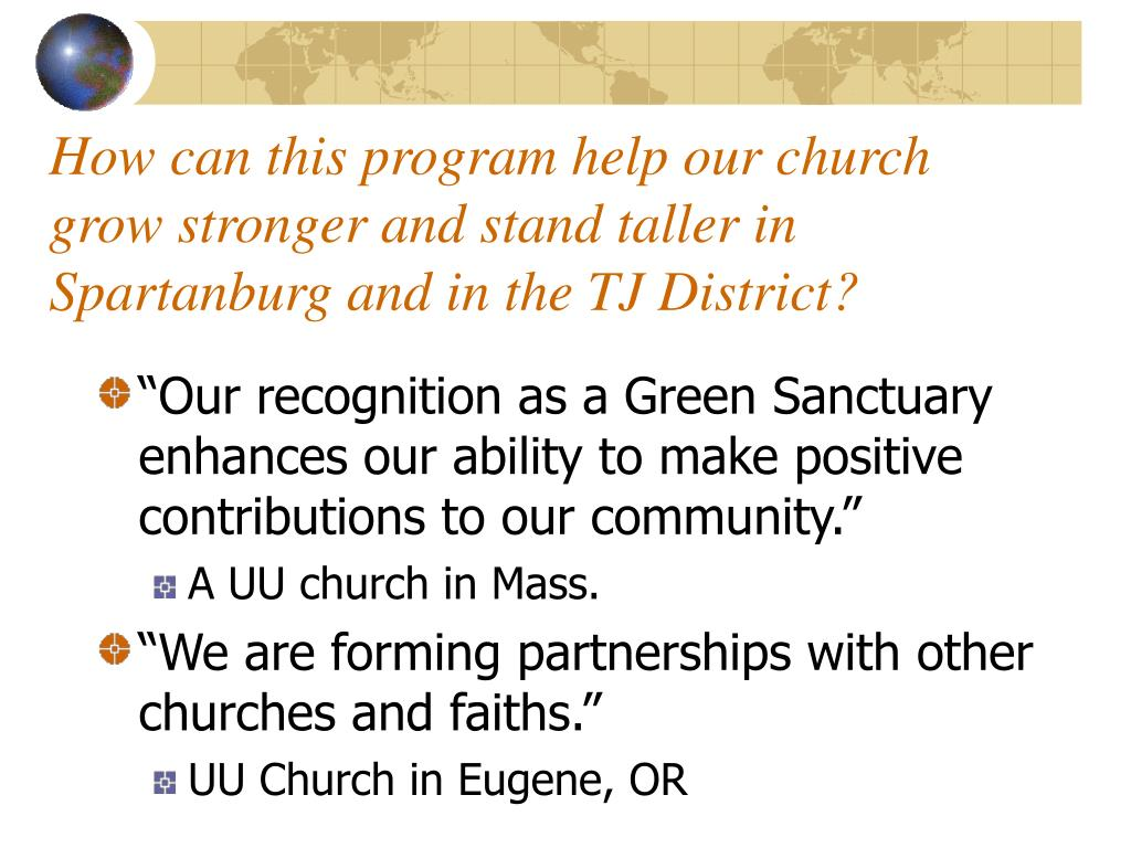 How can this program help our church grow stronger and stand taller in Spartanburg and in the TJ District?