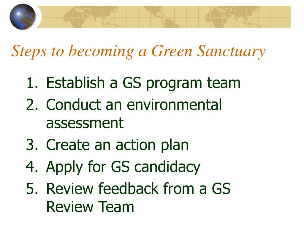 Steps to becoming a Green Sanctuary