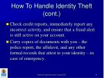 how to handle identity theft cont