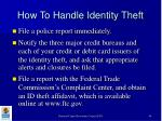 how to handle identity theft