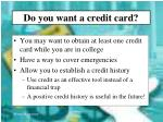 do you want a credit card