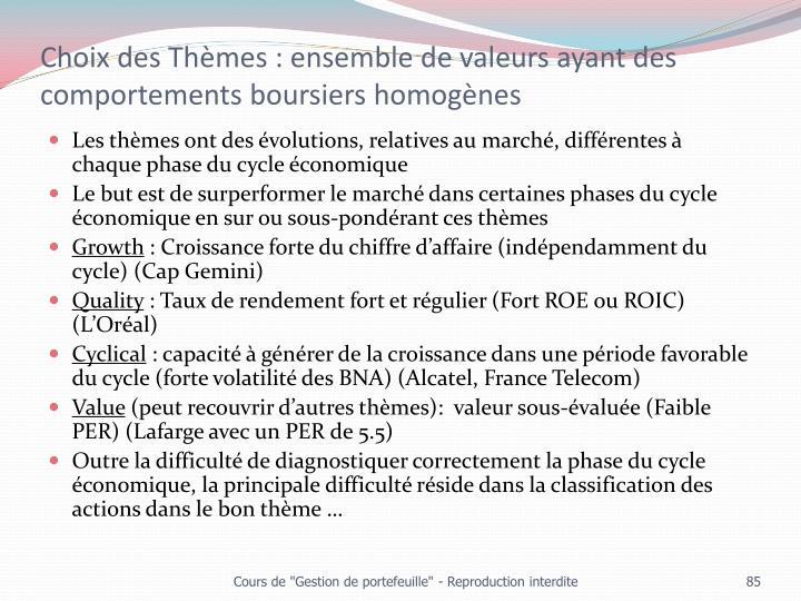 Choix des Thèmes : ensemble de valeurs ayant des comportements boursiers homogènes