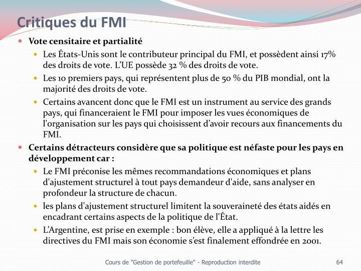 Critiques du FMI