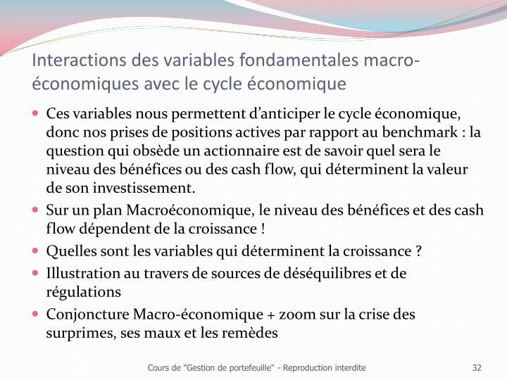 Interactions des variables fondamentales macro-économiques avec le cycle économique