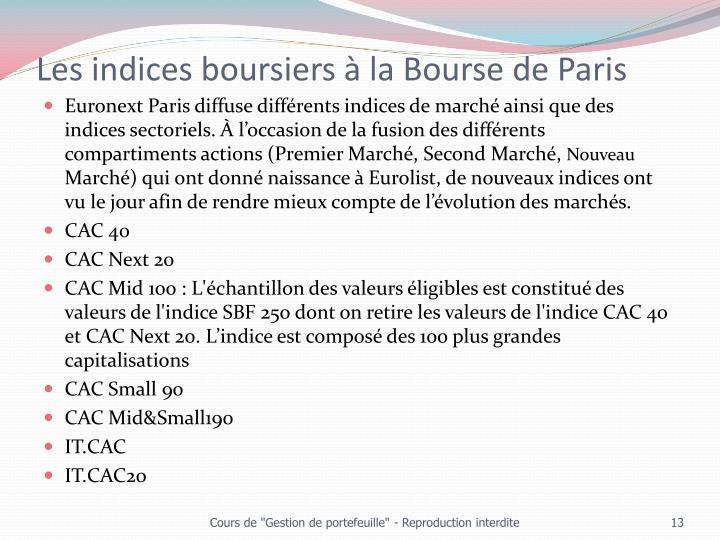 Les indices boursiers à la Bourse de Paris