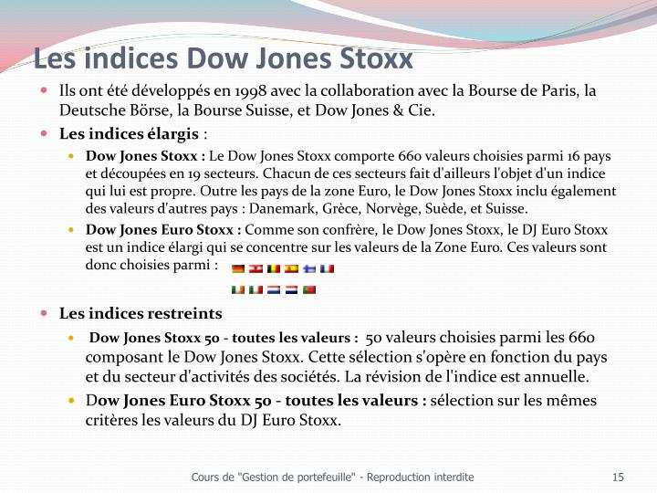 Les indices Dow Jones Stoxx