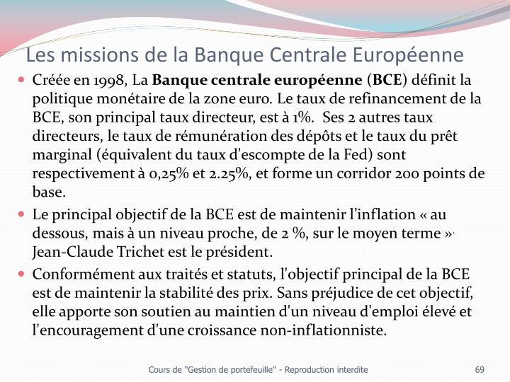 Les missions de la Banque Centrale Européenne
