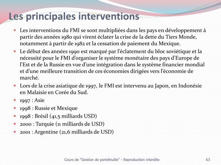 Les principales interventions
