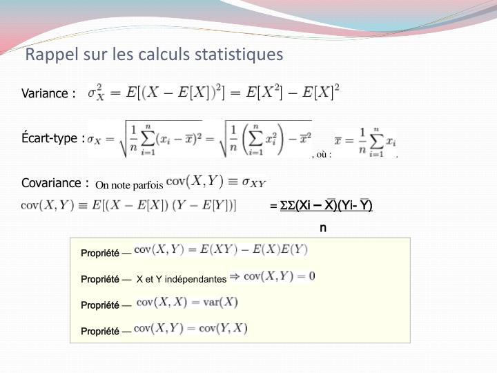 Rappel sur les calculs statistiques