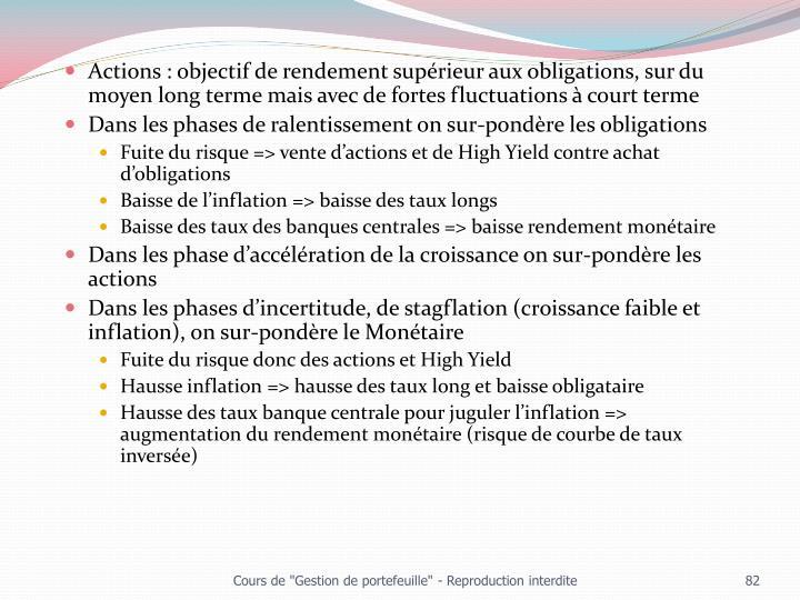 Actions : objectif de rendement supérieur aux obligations, sur du moyen long terme mais avec de fortes fluctuations à court terme