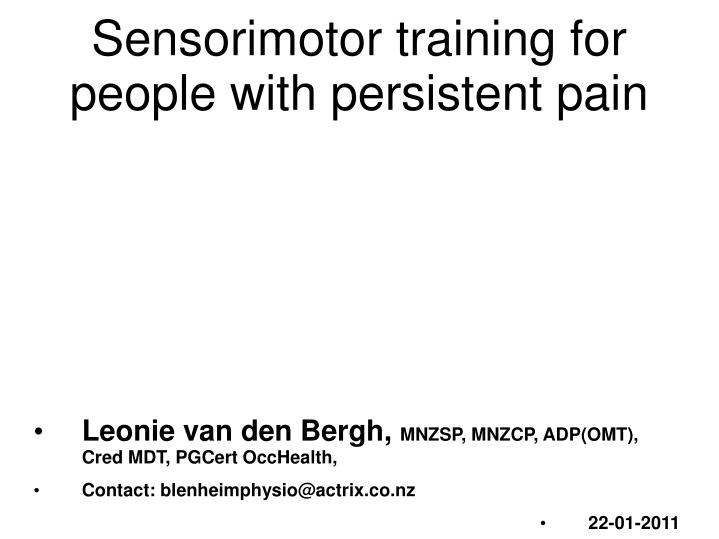 sensorimotor training for people with persistent pain n.