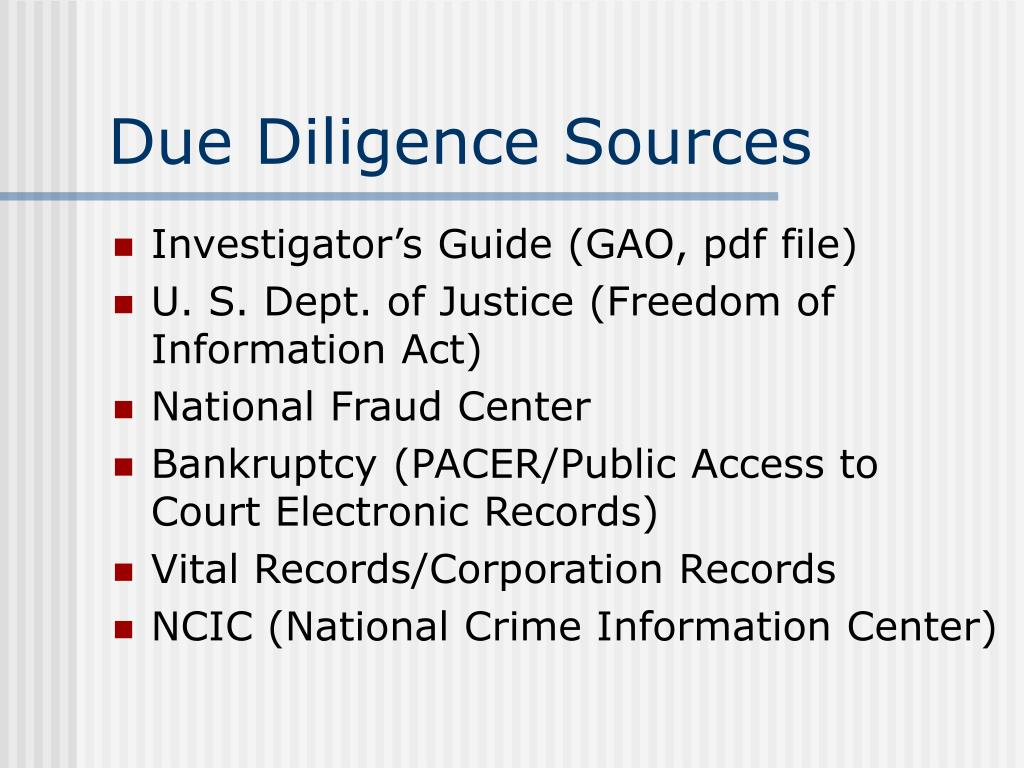 Due Diligence Sources