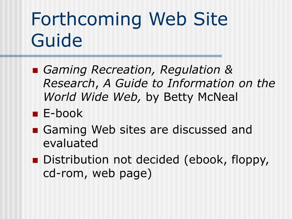 Forthcoming Web Site Guide