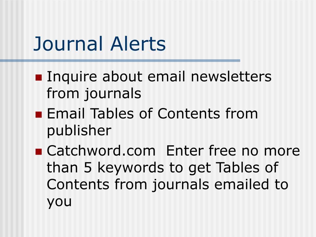 Journal Alerts