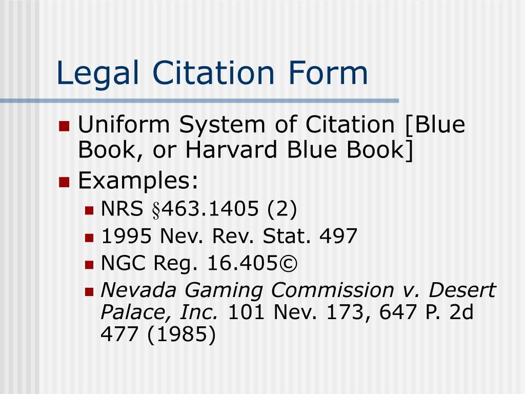 Legal Citation Form