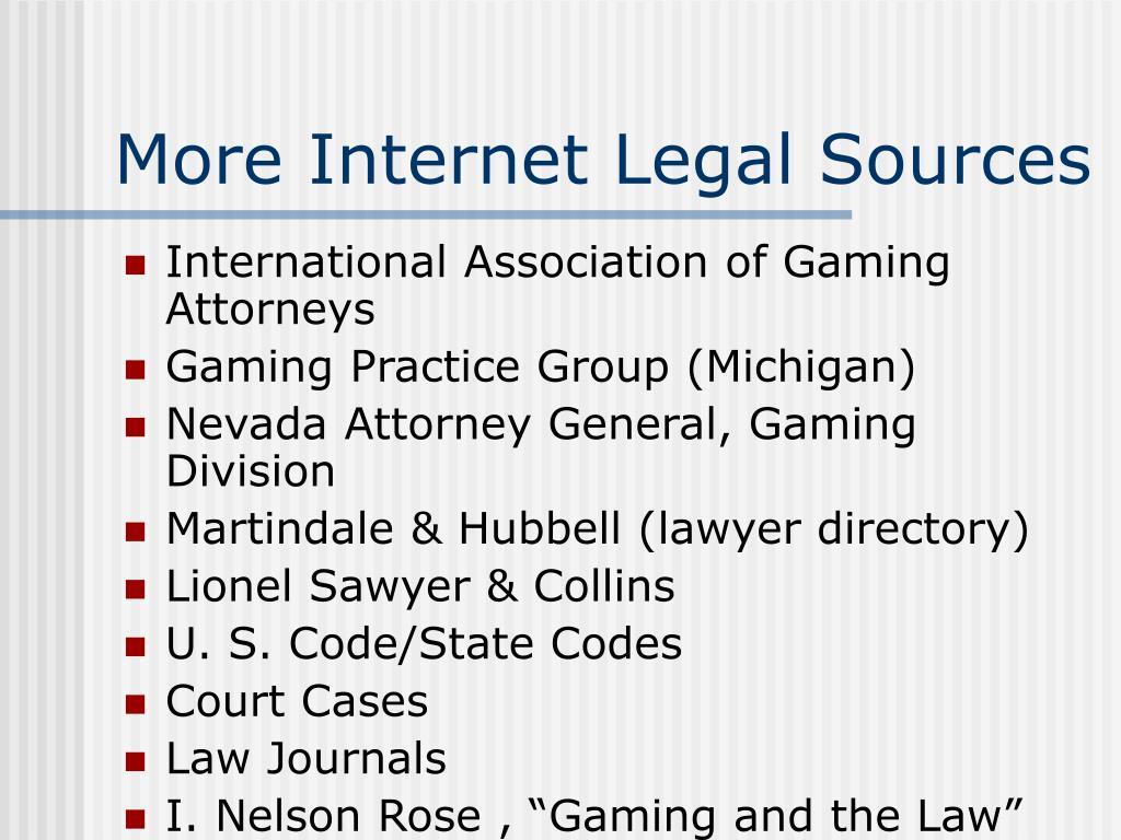More Internet Legal Sources