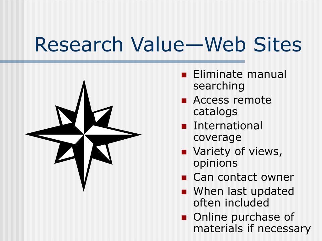 Research Value—Web Sites